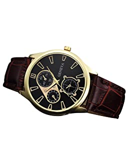 Watch, Men Retro Design Leather Band Analog Alloy Quartz Wrist Watch