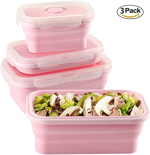 Juego de 3 recipientes plegables de almacenamiento de alimentos ...