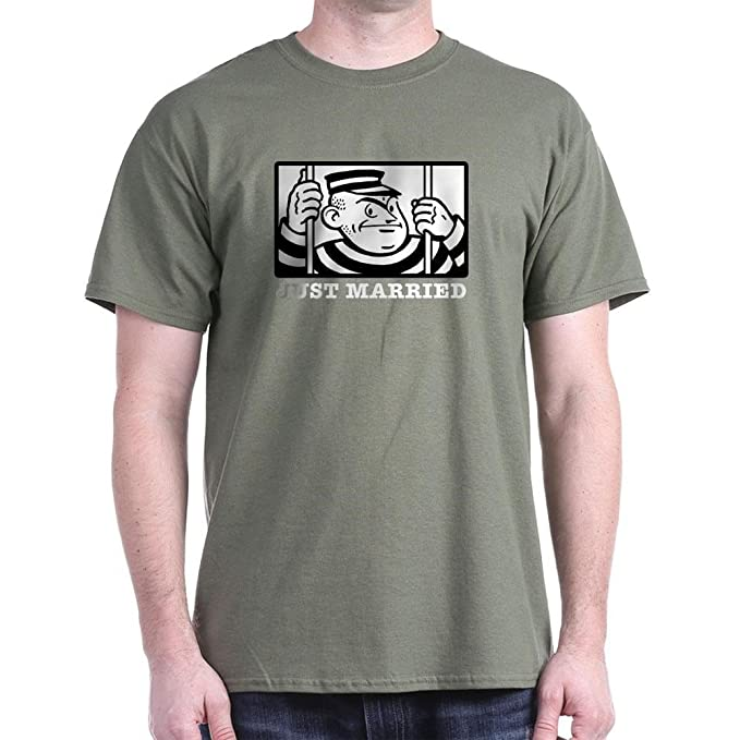01c3bd374 Amazon.com: CafePress Just Married 100% Cotton T-Shirt Military ...