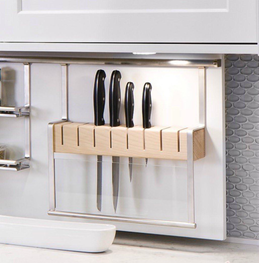 Amazon Com Knife Holder Backsplash Railing System Steel Matt Nickel Beech 380mm Kitchen Dining