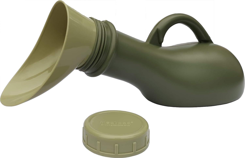 1x urinario - Gris plateado Orinal port/átil unisex a prueba de fugas Medipaq/® - Nuevo modelo 2019 Ideal para viajes en autom/óvil Caravanas y Festivales Ni/ños Ancianos