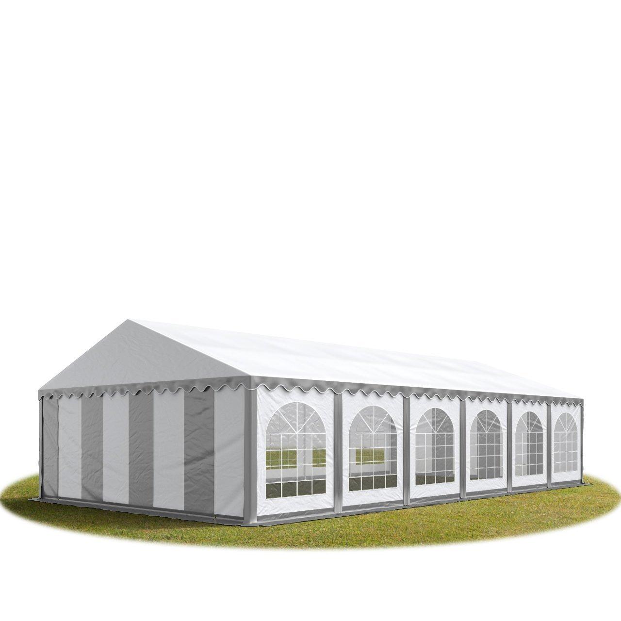 Festzelt Partyzelt 5x12m, hochwertige 500g/m² feuersichere PVC Plane nach DIN in grau-weiß, 100% wasserdicht, vollverzinkte Stahlkonstruktion mit Verbolzung