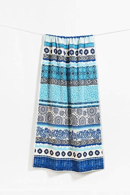 Desigual Towel Sho Jacq Exotic Stripes toalla de baño algodón azul 86 x 160 cm