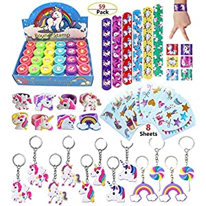 Unicorn Theme Party Favor For Kids-96Pcs Unicorn Tatoo-24Pcs Unicorn Stamper-27 Pcs Unicorn Rings Necklace Keychain…