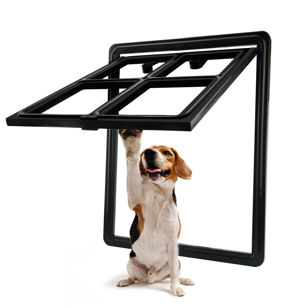 CEESC Dog Door for Sliding Screen Door, 3rd Upgraded Version Automatic Lock Pet Door for Dogs Puppies Cats, 3 Colors 5 Options (Large Black)