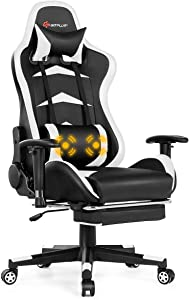 Goplus Massage Gaming Chair, Reclining Backrest, Handrails and Seat Height Adjustment Racing Computer Office Chair, High Back Ergonomic PU Leather Swivel PC Game Chair with Footrest