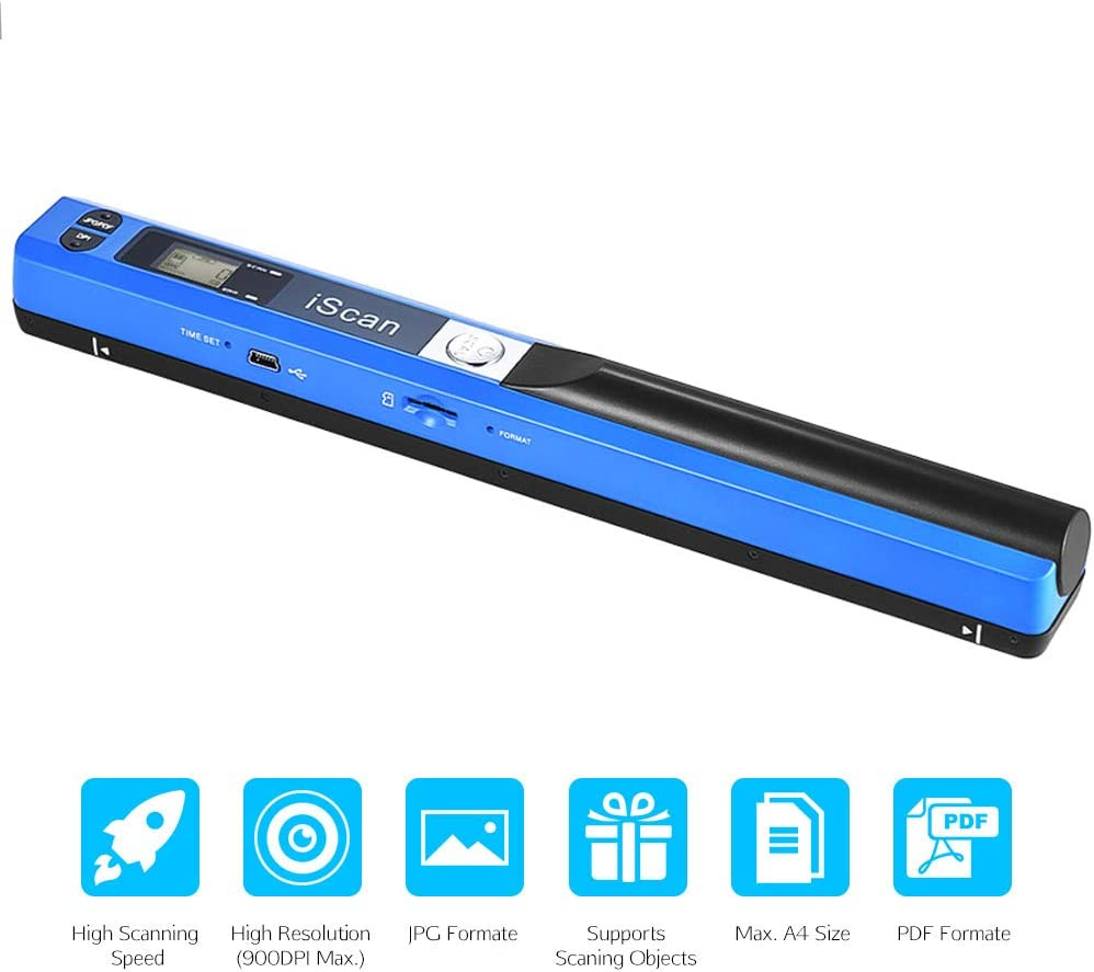 Lqqzzz Portable Scanner Wireless Handheld Scanner A4 Document Scanner 900dpi Jpg Pdf Lcd Monitor Supports Up To 32g Micro Sd Card Küche Haushalt