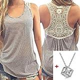 Lookatool Women Summer Lace Vest Top Short Sleeve Blouse Tank Tops T-Shirt (M, Gray)