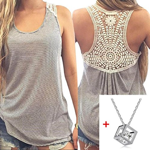 Lookatool Women Summer Lace Vest Top Short Sleeve Blouse Tank Tops T-Shirt