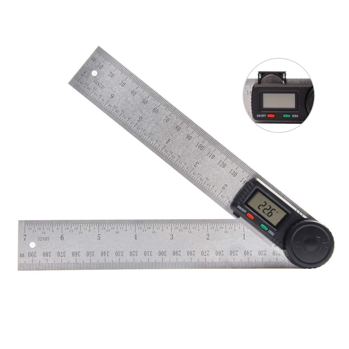 Digital Angle Finder Protractor, PROSTORMER 7 inch Stainless Steel Angle Ruler Degree Finder with Locking and Zeroing Function for Woodworking, Construction and Drawing