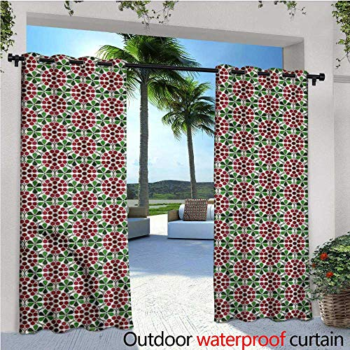 warmfamily Nature Outdoor Privacy Curtain for Pergola Abstract Cranberries Thermal Insulated Water Repellent Drape for Balcony W108 x L108 -