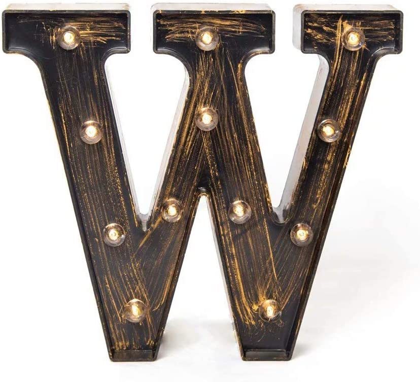 Glintee LED Marquee Letter Lights Vintage Style Light Up 26 Alphabet Letter Signs for Wedding Birthday Party Christmas Home Bar Cafe Initials Decor (W)