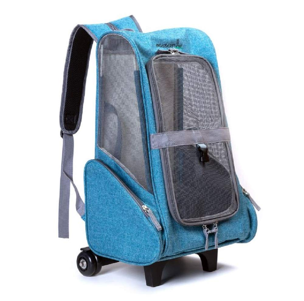 GDDYQ Pet Trolley Bag, Breathable and Lightweight Pet Backpack for Cats and Small Dogs, Hiking, Anti-escape Buckle