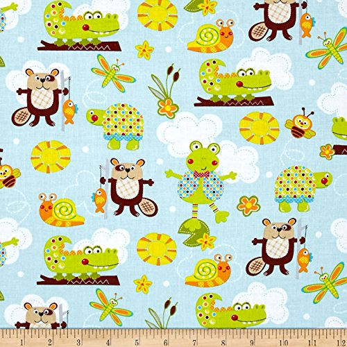 (Marcus Brothers Polka Dot Pond Critters Fabric by The Yard, Multi)