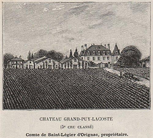 MÉDOC. PAUILLAC. Chateau Grand-PUY-Lacoste (5e Cru Classé). Small - 1908 - Old Print - Antique Print - Vintage Print - Printed Prints of Gironde
