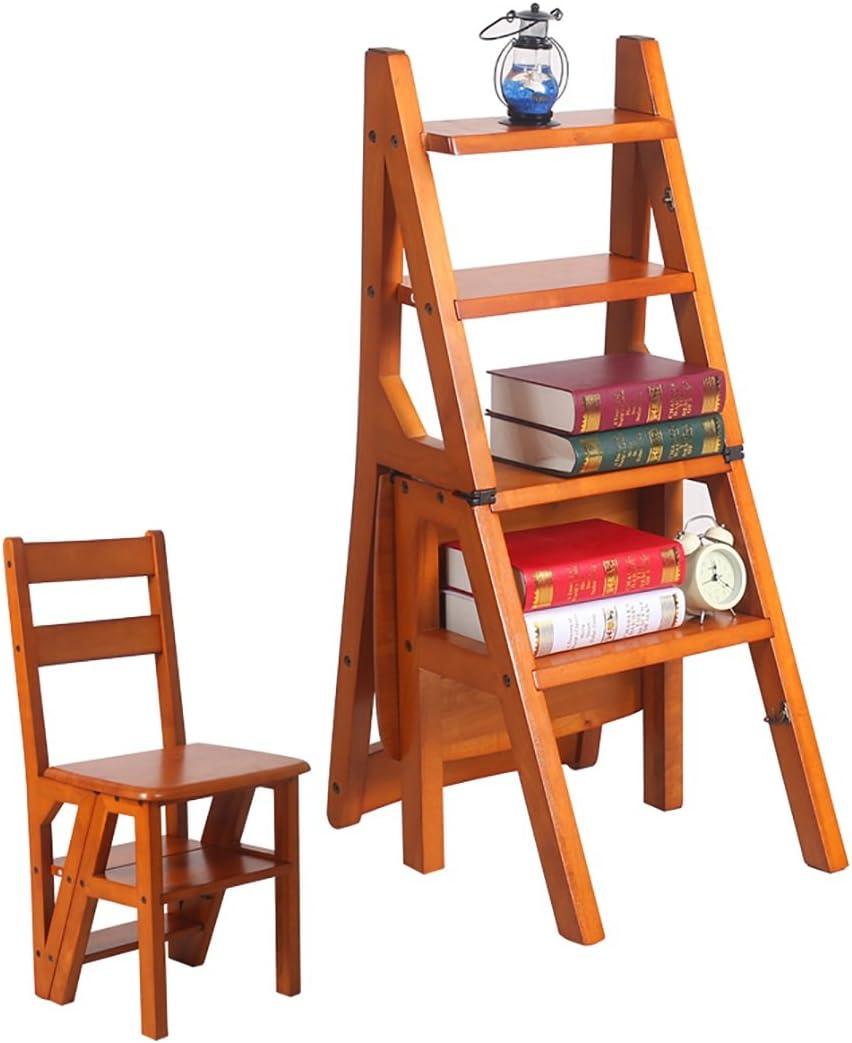 ZENGAI Escalera Madera Escalera Silla Escaleras Silla Escalera En Madera Utilidad De Madera Paso Escalera Plegable 4 Pasos Biblioteca# Color : A