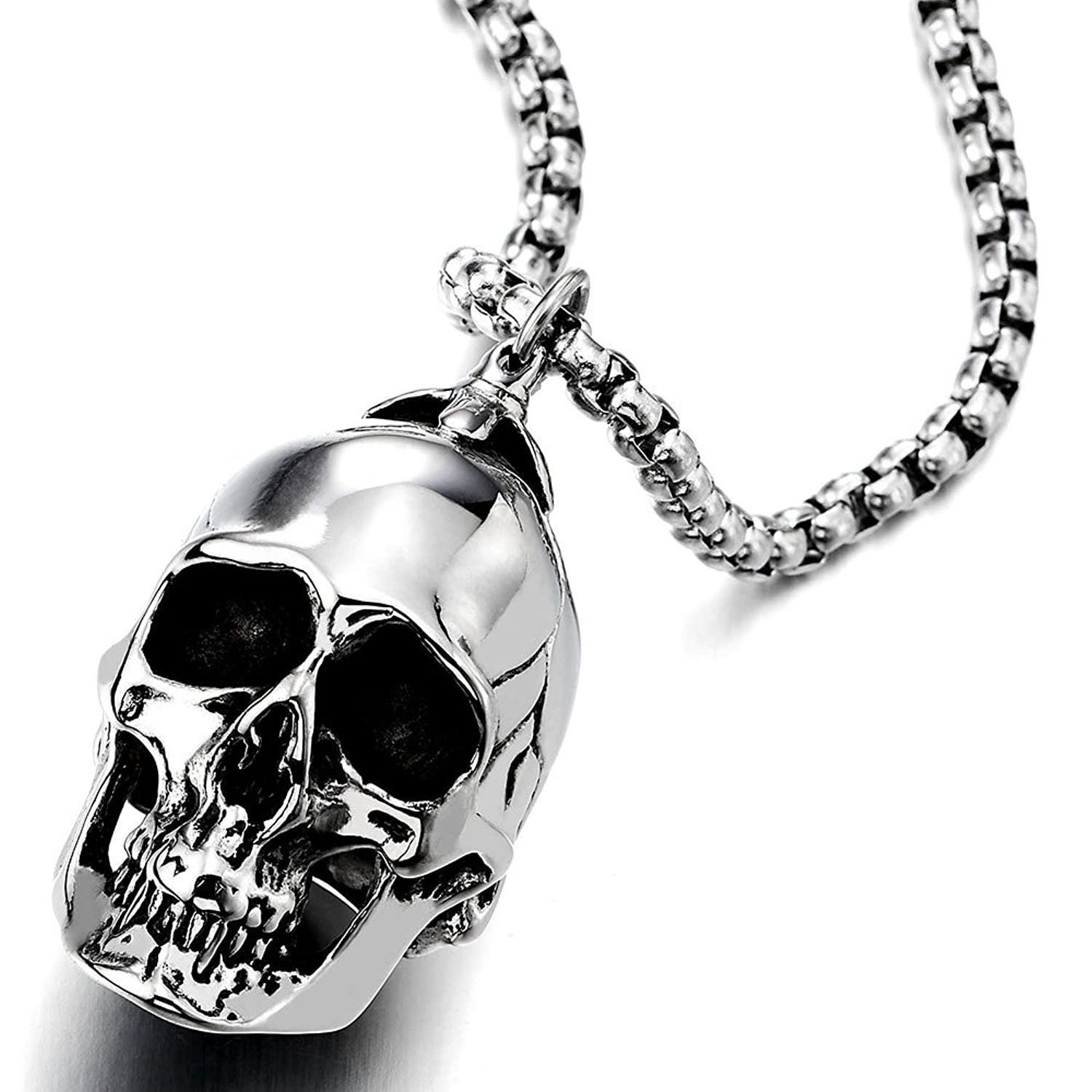 Men's Stainless Steel Skull Pendant Chain Necklace