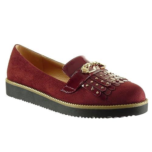 Angkorly - Zapatillas de Moda Mocasines slip-on zapatillas de plataforma mujer fleco tachonado dorado Talón Plataforma 2.5 CM: Amazon.es: Zapatos y ...