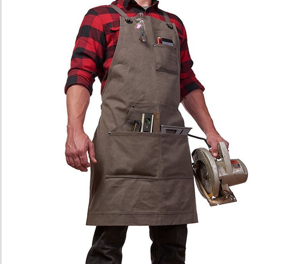 Heavy Duty Work Apron Tool Apron with Big Pockets,Durable Waxed Canvas Tools Apron, Cross Back Workshop Apron Waterproof Adjustable M to XXL Fits Men and Women, Perfect for Home or Workshop Black Kong EU