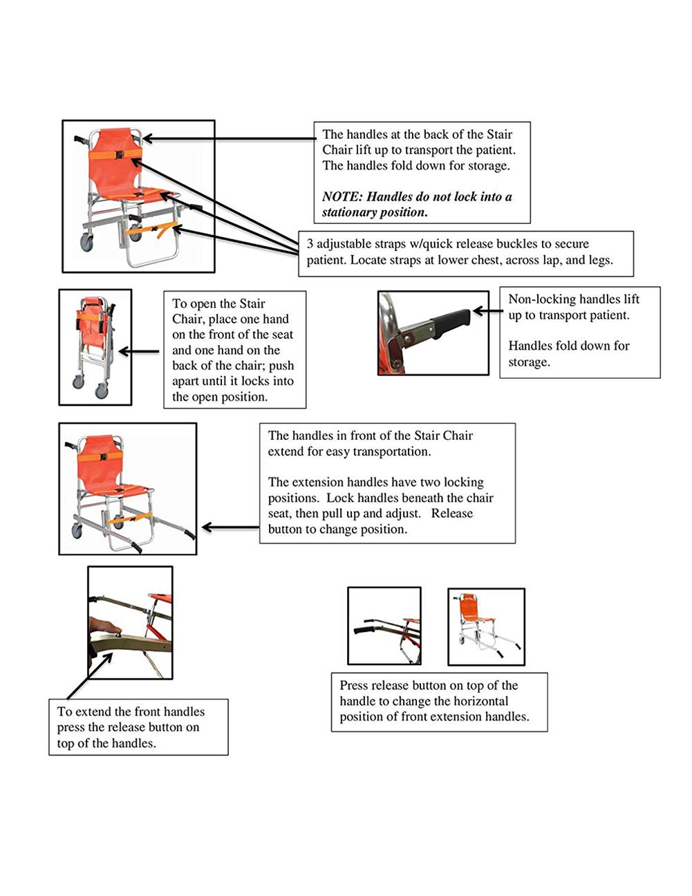 Silla De Escalera - Aluminio Bomba De Ambulancia Ligera Bomba De Evacuación Médica Silla De Escalera Con Hebillas De Liberación Rápida, Naranja: Amazon.es: ...