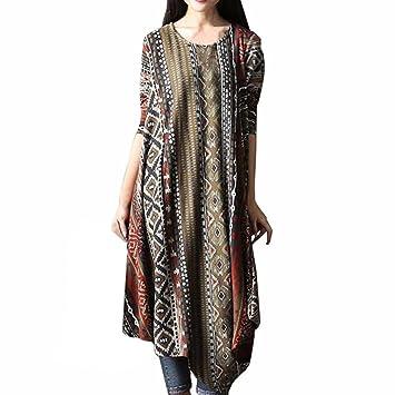 Mujer vestido Bohemian vintage Impresión traje de Otoño,Sonnena Vestidos ocasionales flojos del o-