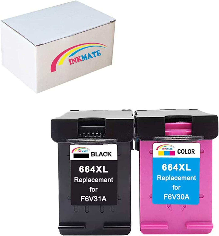 INKMATE Replacement #664XL Ink Cartridge 2 Pack F6V30A / F6V31A (Black+Tri-Color) Fit DeskJet Ink Advantage 3836 4536 4676 Printers