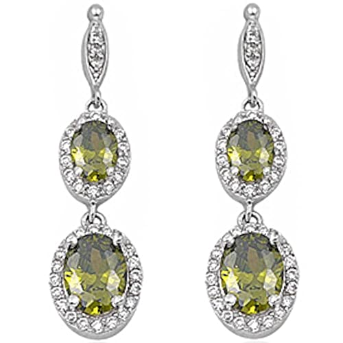 Halo Drop Dangle Chandelier Earring Oval Lab Created Opal Round Cubic Zirconia 925 Sterling Silver Choose Color