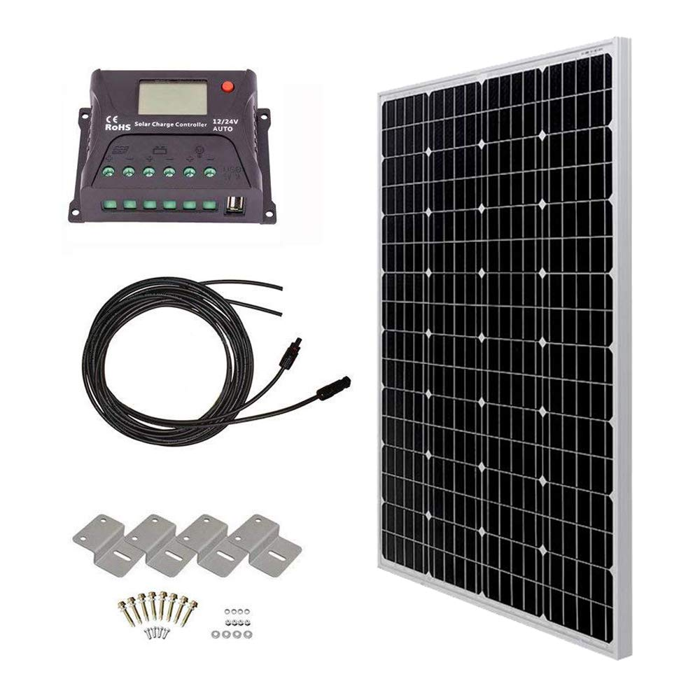 HQST 100 Watt 12 Volt Monocrystalline Solar Panel Kit with 20A PWM Charge Controller with LCD Display by HQST