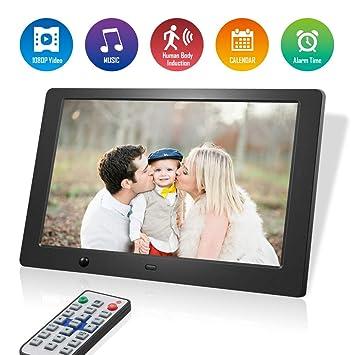 Marcos Digitales 10 Pulgadas Pantalla LCD, 1280 × 800 de Alta resolución/1080P HD portaretratos Digitales con Control Remoto, Soporte Reproductor ...