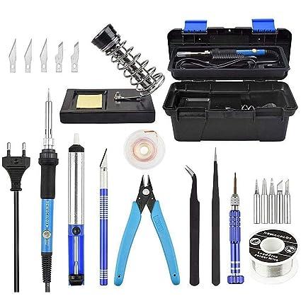 TOOGOO Kit de soldador con temperatura ajustable, 60W 220V Herramienta de soldadura con a de