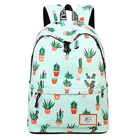 9c16fb387 Backpacks Pineapple University Bookbag Cactus Daypack Lightweight Canvas  College Bags by AOAKY (Green-Cactus