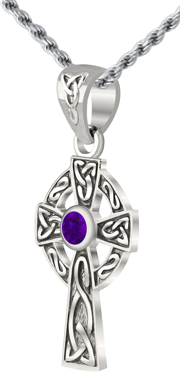 US Jewels And Gems Small 0.925 Sterling Silver Irish Celtic Knot Cross Genuine Amethyst Pendant Necklace