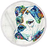 Pixels Round Beach Towel With Tassels featuring ''Colorful English Bulldog Art By Sharon Cummings'' by Sharon Cummings