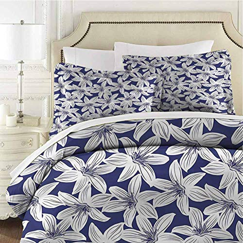 Navy Bedding 3-Piece Full Bed Sheets Set,Comforter Bedding Set Microfiber Duvet Cover Set Hibiscus Flower Petals for Any Bed Room Or Guest Room
