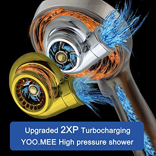 YOO.MEE High Pressure Handheld Shower Head with Powerful Shower Spray against Low Pressure Water Supply Pipeline, Multi-functions, w/ 79'' Hose, Bracket, Flow Regulator, Brushed Nickel