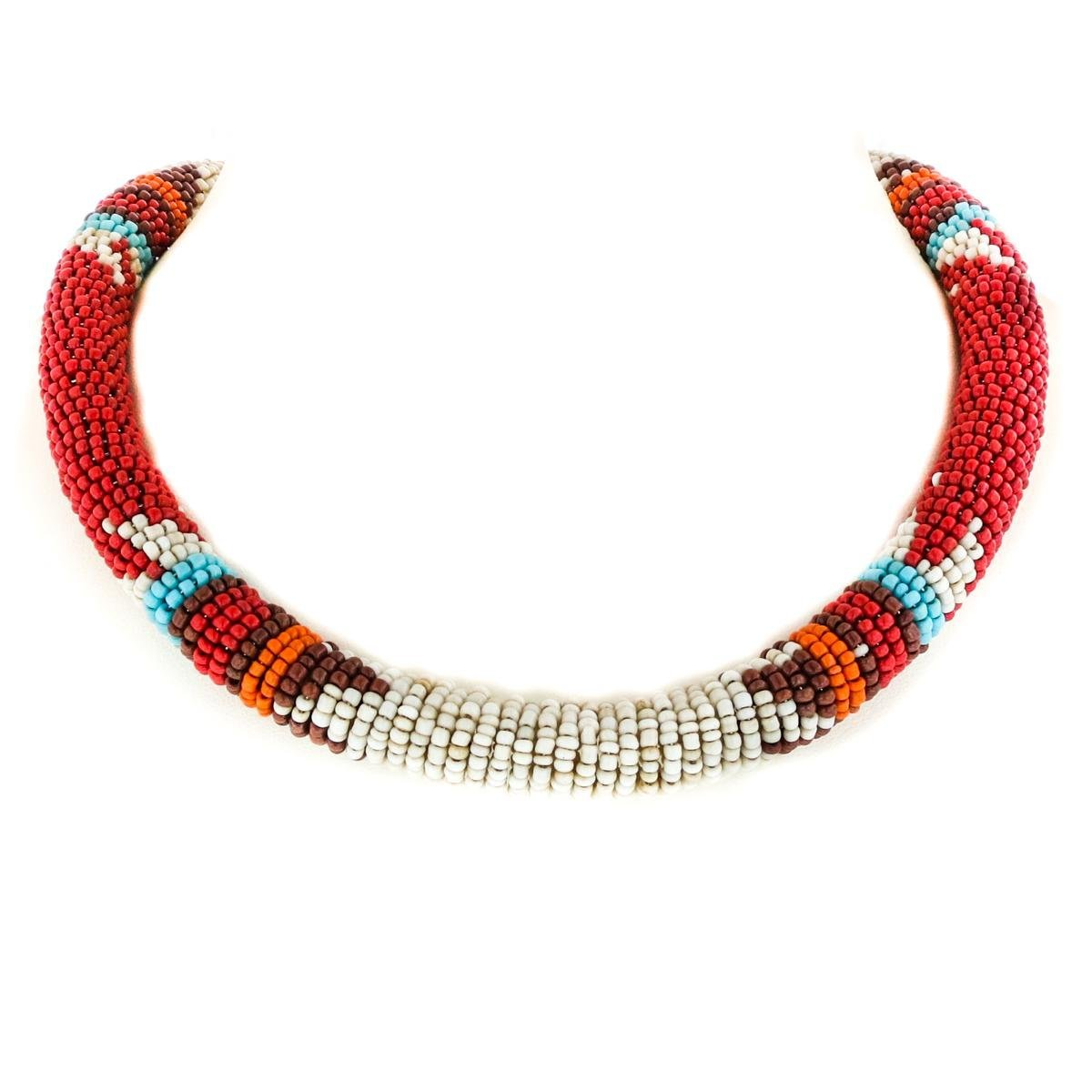 Red Beige Ethnic Style Mixed Color Glass Seed Beads Coiled Necklace(20'')