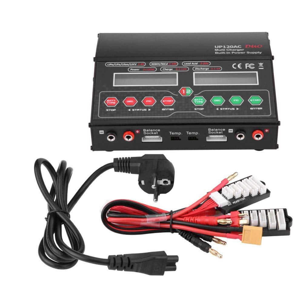 Dilwe Caricabatterie RC, 2 Porte USB Caricabatterie Rapido Bilanciamento di Potenza RC per Dispositivi DC Cellulari Fotocamere Digitali(Spina EU)