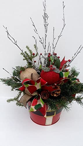 Christmas Table Arrangements Flowers.Amazon Com Christmas Decor Centerpiece Santa Belt Bucket