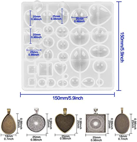 Fashionclubs 5 Styles Pendant Trays with 1pcs Silicone Resin Jewelry Casting Mold 30pcs Bezel Trays Pendant Blanks Round Square Heart Teardrop Oval Vintage Pendant Bezel Trays for Photo Jewelry DIY