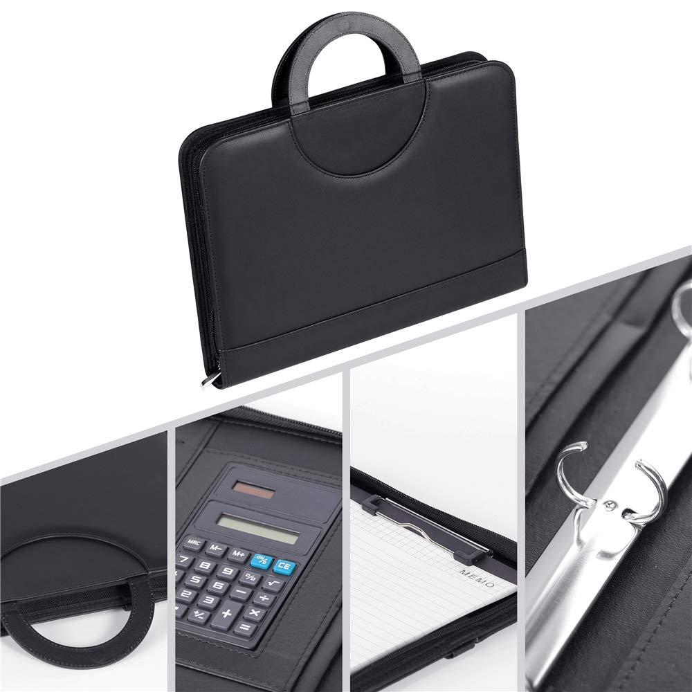 ERWEY A4 Schreibmappe Konferenzmappe A4 komplett mit Reissverschluss Klemmbrett mit Taschenrechner Multifunktions Ledermappe Dokumentenmappe aus PU-Leder