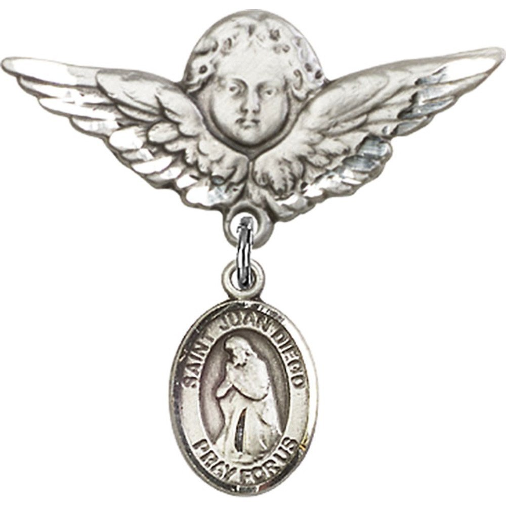 Sterling Silver Baby Badge with St. Juan Diego Charm and Angel w/Wings Badge Pin 1 1/8 X 1 1/8 inches by Unknown (Image #1)
