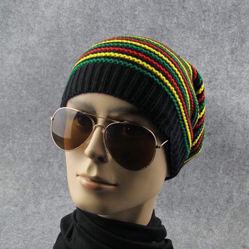 Women Men Soft Rainbow Striped Slouchy Cap Beanie Winter Warm Knit Skull Hip-Hop Hat Unisex