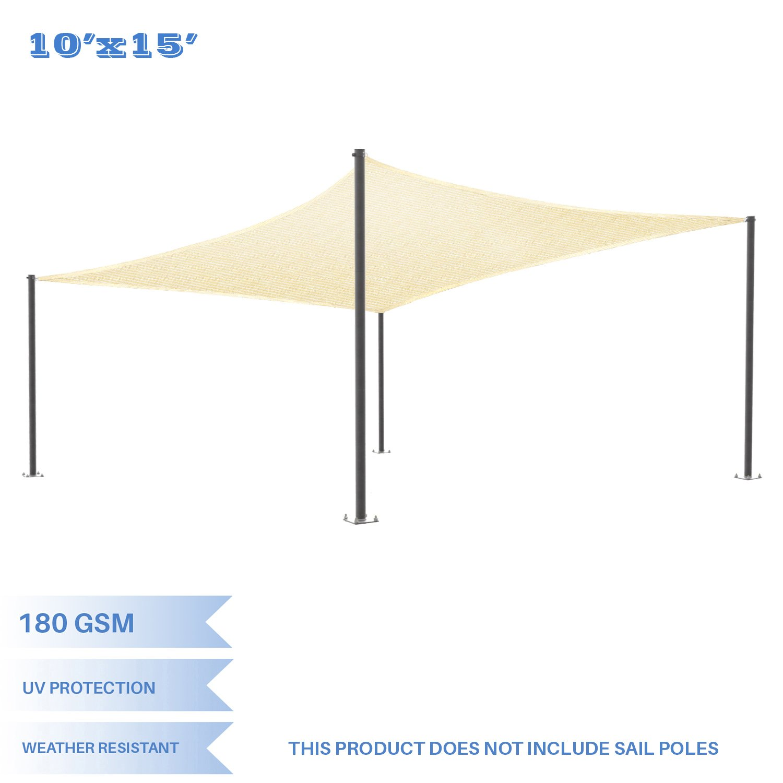 E&K Sunrise 10' x 15' Beige Sun Shade Sail Square Canopy - Permeable UV Block Fabric Durable Patio Outdoor Set of 1 by E&K Sunrise