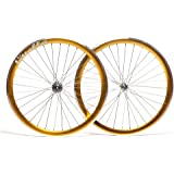 Quella 700C Gold Single Speed 40mm Deep-V Fixie Flip-Flop hub Wheels