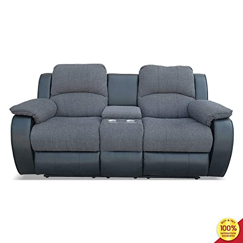 Hooseng, Chenille Fabric and Black Bonded leatherr Manual Chair for Living Room, Recliner-Loveseat with Console,Motion Sofa Collections, 2 seat with Cup Holder