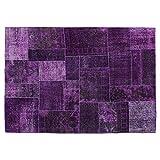 Violet Vintage Patchwork Merino Wool Area Rug, Vintage Floor Rug, Oriental Area Rug, handmade Traditional Fancy Carpet. Code:R0101311