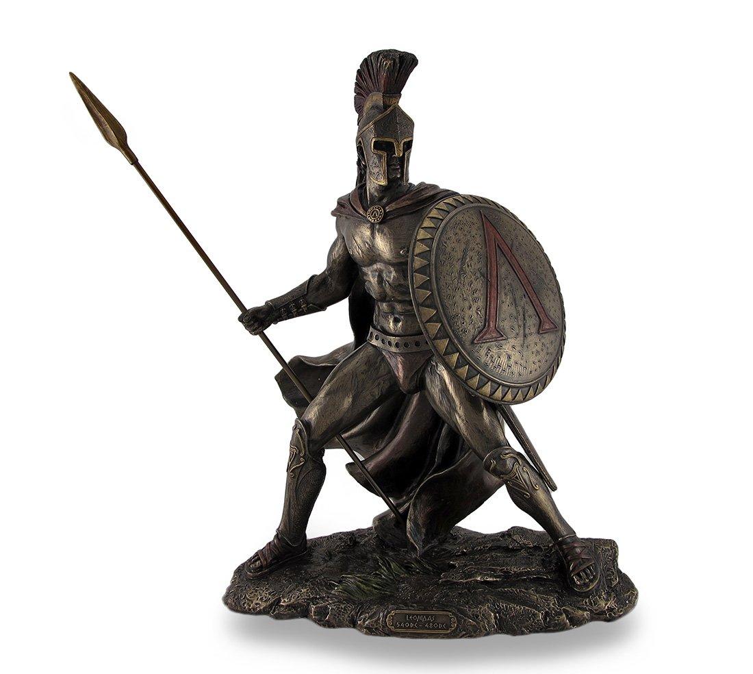 古代ギリシア スパルタ王 戦士 レオニダス、ブロンズ風 彫像 彫刻 ヴェロネーゼ製 B00K6N4VI8