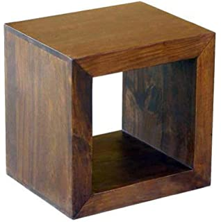Divine 60cm coffee table side end table sheesham wood lamp table dakota 1 hole cube side table lamp coffee constructed from 100 real aloadofball Choice Image