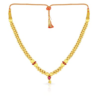 40ad39064b246 Malabar Gold and Diamonds Tushi Collection 22k (916) Yellow Gold and  Crystal Choker Necklace for Women