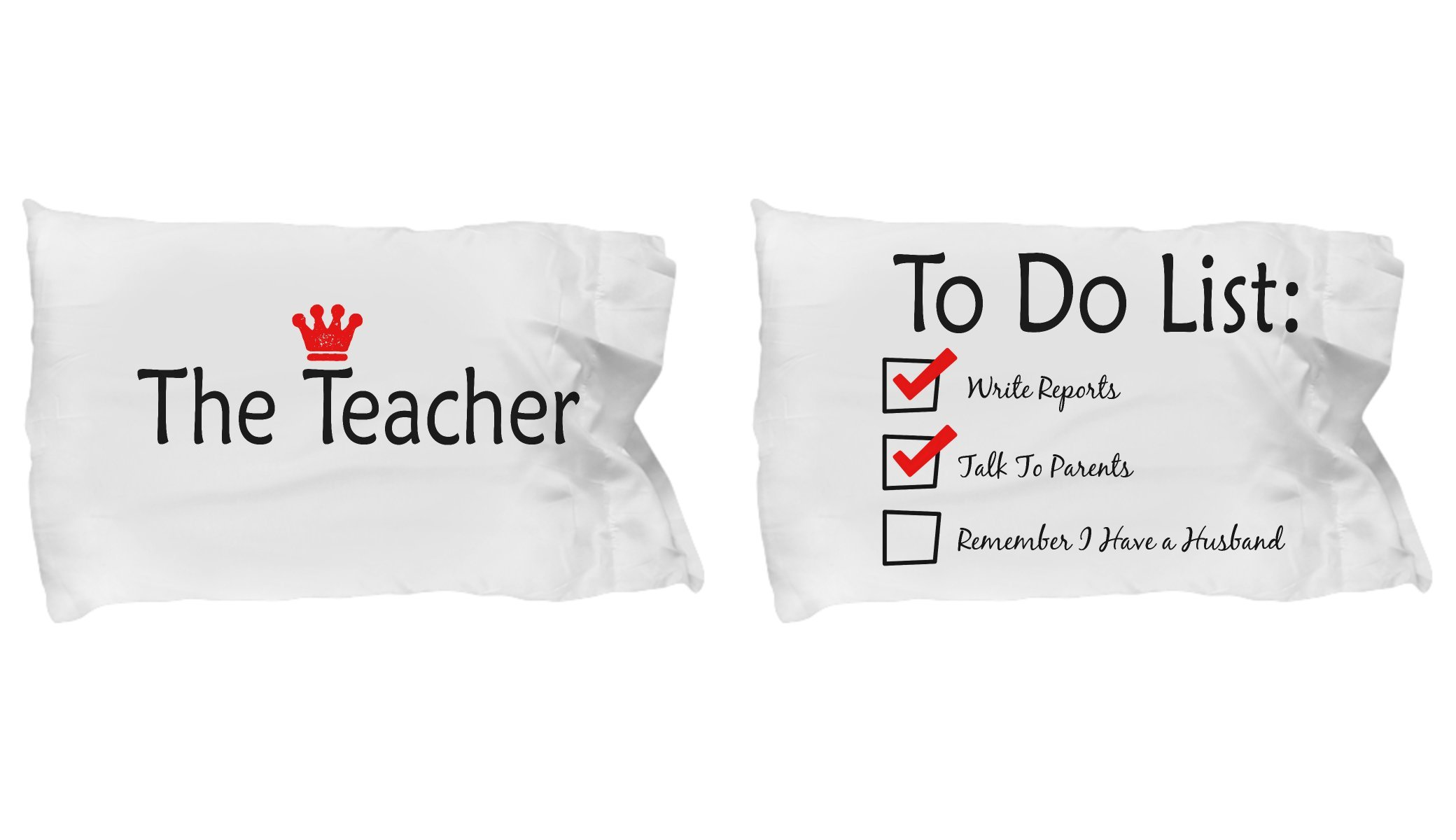 SmallWonderGifts Teacher Gift From Husband Back To School Appreciation Pillow Couples Funny Case Matching Pillowcase Bedding Set Teachers Idea for Couples
